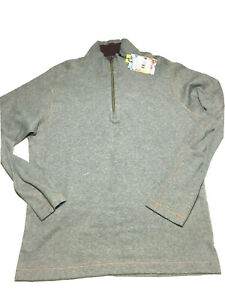 Robert Graham Men's Elliot Sweatshirt Classic Fit Long Sleeve Half Zip Gray Sz L