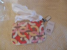 """Coach Small Wristlet NWT SV/Multicolor """"C"""" in Pink White Red Gold Tan Background"""