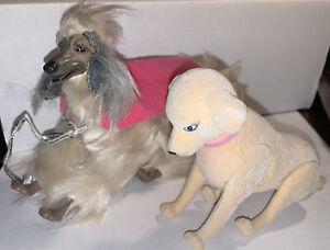 Mattel Barbie 2 dogs 1979 afghan Beauty & 2008 lab retreiver Tanner
