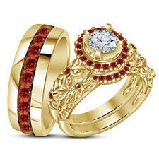 14k Yellow Gold Over Red Garnet Wedding Trio Matching Band Engagement Ring  Set