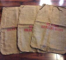 Burlap Bags Lot Of 3 50 Kilos Sack Gunny Potato Feed Primitive Decor Crafts