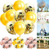 10Pcs 12'' Clear Happy Birthday Crown Printed Sequins Latex Balloons Party Decor