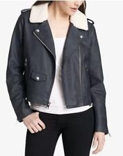 Levi's Cropped Sherpa Collar Moto Faux Leather Jacket Navy S $100