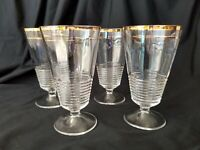 Federal Glass Footed Iced Tea Glasses Set of 4 #145 Gold Trim 1939