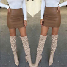 Chic Women Skirt Bandge Leather High Waist Pencil Skirt Bodycon Short Skirt H-M