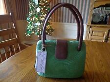 Bahay Bags of Honolulu Green Woven Buntal & Brown Leather Clam Shell Design NWT