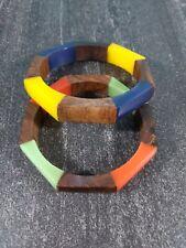 2 Vintage Plastic & Wood Octagon Shaped Bangle Bracelets, Bright, Cheery Colors