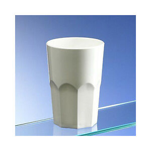 Virtually Unbreakable White Plastic Octagon Shaped Tumblers 350ml/12oz Pack of 8