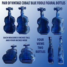MATCHING PAIR OF VINTAGE COBALT BLUE FIDDLE ( VIOLEN ) FIGURAL BOTTLES.