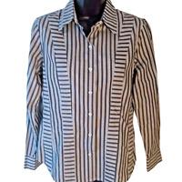 Liz Claiborne Women's Gray/White Striped Long Sleeve Button Dress Shirt size 6P