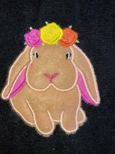 Appliqued Embroidered Black Bathroom Hand Towel   Felt Rose Crown Easter Bunny