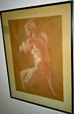 """One of a Kind Drawing of a  Nude Woman - 1970's- 30 """" X  23"""" Framed"""