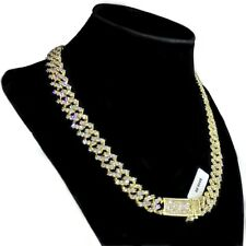 """Mens 14k Gold Plated Chain Micro Pave Iced Zig Zag Bling 18"""" Choker Necklace"""