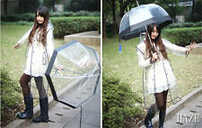 Long Transparent PVC Raincoat Runway Style Womens Men Clear Rain Coat U029