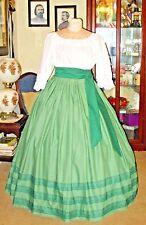 Civil War Dress~Victorian Style 100% Cotton~Solid Mint Green Skirt & Sash Set