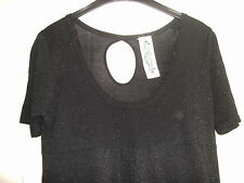 BNWT - LADIES LOVELY BLACK SPARKLY SHORT-SLEEVED TOP - SIZE 14