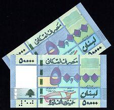 2012 / 2013 Lebanon 50000 Livres UNC Lot of 2  LIBAN