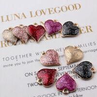 10Pcs Shiny Heart Enamel Alloy Charms Pendant DIY Handmade Jewelry Findings G LU