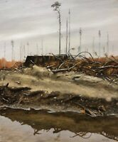 """""""The wasteland"""" framed original OIL on canvas ART handmade painting 23x19 inches"""