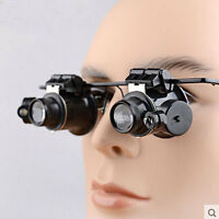 20x Magnifier Magnifying Eye Loupe Lens Glasses Jeweler Repair Watch+LED Light