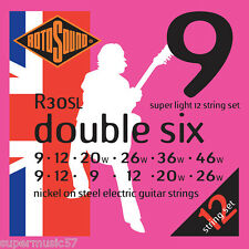 Rotosound R30SL double six 12 cordes cordes pour guitare électrique 09-46 - super light