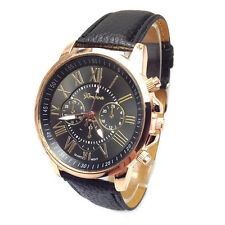 Male/Woman Quality Leather Belt Casual Fashion Watches  Golden Color