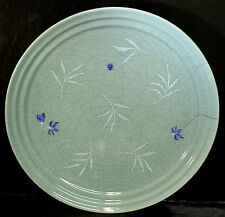 Signature Housewares BAMBOO Dinner Plate Crackle Celadon Green Flower Bug EUC