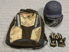 Easton Backpack Baseball Bat Gear Bag & Rawlings Batting Pro-Dri Helmet & Gloves