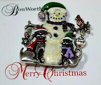 New Christmas White Green Snowman Pets Rhinestone Enamel Silver Brooch Pin K3 4