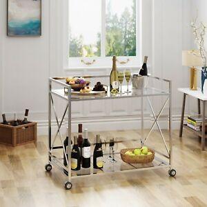 Rolling Mini Bar Silver Glass Top Shelf 2 Tier Liqueur Serving Cart Retro Slim