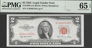 FR# 1509   1953  $2 U.S. NOTE   RED SEAL   PMG 65 EPQ  L@@K  NR