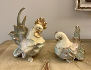 Vtg Kay Finch California Pottery Biddy Hen Butch Rooster-Gold-Signed R.Hilton