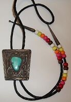 Vintage Sterling Silver Turquoise Bolo Tie S.W. Signed Men's Jewelry Old Pawn