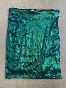 H&M   Size S   Sequin Green Bodycon Tight Mini Party Skirt