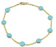 "Blue 4 mm Round Turquoise 7"" Bracelet,14K Yellow Gold"
