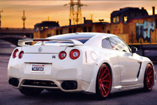 Nissan GTR White Sunset Car Fabric Silk Poster 36x24 Inches Home Wall Decor