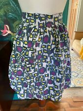 Ladies Vintage Half Pinny Apron Blue Purple Yellow White Pattern with Pocket