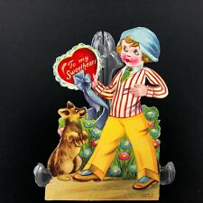 Vtg Antique Valentines Card Germany Mechanical Eyes Move 1920s 30s Sweet Dog