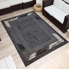 Moderner Design Velours Kurzflor Teppich Bordüre grau/schwarz/creme 160x230 cm