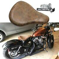 Brown Motorcycle Solo Seat Spring Soft Leather For Harley Honda Chopper Bobber