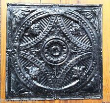 "1890's Reclaimed Metal 12"" x 12"" Antique Tin Ceiling Tile Black Tr34"