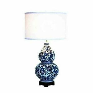 Creative Co-Op Ceramic Table Lamp with Shade, Blue and White