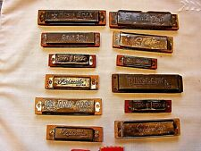 12 Metal Harmonicas - Pinocchio,Gold Rose,Friend,Gold Star,King Star,Circus, etc
