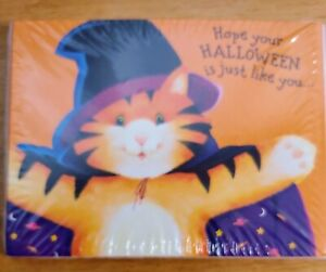 Vintage Happy Halloween Cards Cute Cat Witch American Greetings 8 and envelopes