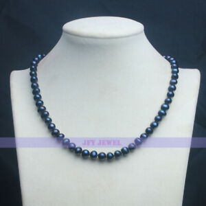 "Beautiful 17"" AAA 7-8MM Genuine Black Pearl Necklace"