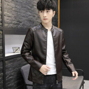 Men Pu Leather Motorcycle Jacket Casual Outwear Korean Fashion Stand Collar Coat