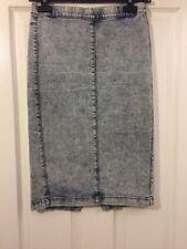 Calf Length Denim Straight, Pencil Regular Skirts for Women