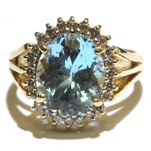 14k yellow gold .36ct SI1 H diamond blue topaz womens ring 4.6g ladies