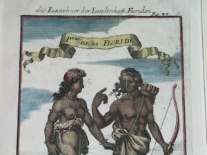 1719 RARE NICE ORIGINAL ENGRAVING FLORIDA NATIVES OF FLORIDA Mallet / Jung