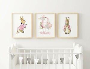 3 PERSONALISED NURSERY PRINTS A3 - PETER RABBIT - PINK FLOPSY BUNNY BABY GIRL